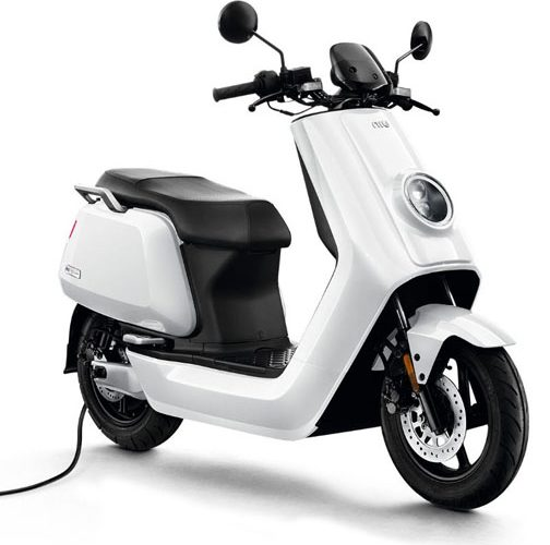 niu-n-sport-scooter-white-pluged-in